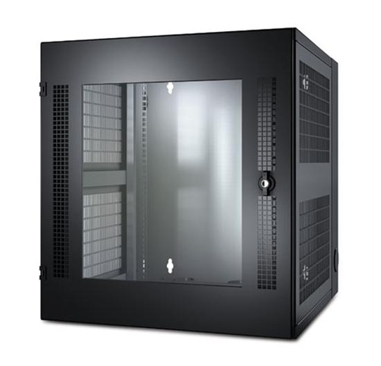 Imagem de NetShelter WX 13U c/Orifício Roscado, Porta Dianteira Vidrada em Guia de Montagem Vertical, em Preto